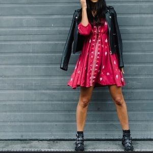 Free People   Pink Embroidered Mini Dress XS